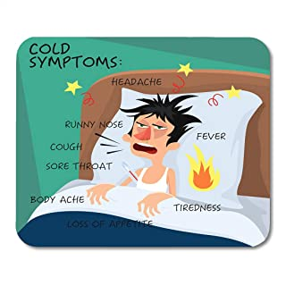 Boszina Mouse Pads Cold Symptoms in Flat with Man Who Feel Feverish Chills Cough Sore Throat Cartoon Character Influenza Flu Mouse Pad for notebooks,Desktop Computers mats 9.5