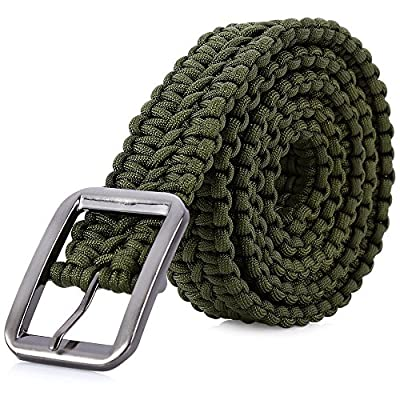 Stylrtop Tactical Waist Belt Survival Woven Belt for Camping, Hunting, Hiking, and Other Outdoor Activities(Can be Unraveled into a 28 Meters Parachute Cord,Pulling Force:550lbs (Army Green)