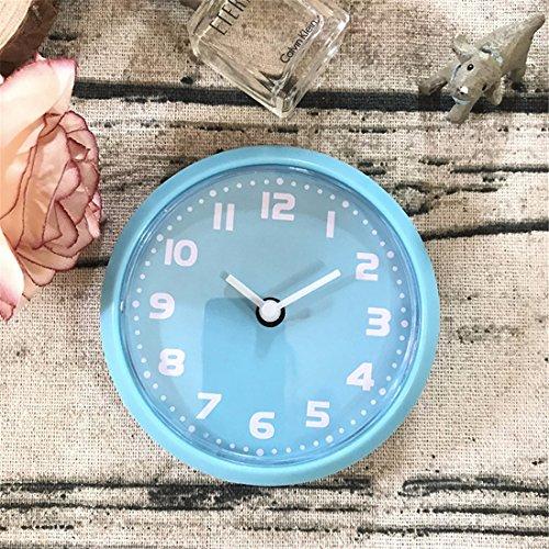 Wall Clock WERLM eenvoudige woonkamer wandklok retro slaapkamer ronde wandklok mini wekker magneet koelkast, 8 cm, blauw