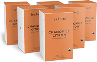 Sponsored Ad - Tea Forte Chamomile Citron Herbal Tea Bags, Organic Tea in Filterbags, 6 Boxes, 96 Tea Bags Total