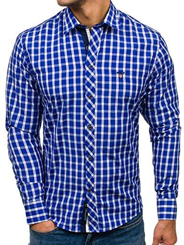BOLF Herren Hemd Casual Freizeit Slim Fit 4747 Mittelblau L [2B2]