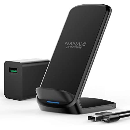 NANAMI ワイヤレス急速充電器 Qi/PSE認証済み iPhone 12/12 Pro/SE (第2世代) /11 / 11 Pro / Xs / XR / Xs Max / X / 8 / 8 Plus、Galaxy S20 /S10 / S10+ / S9 / S9+ / S8 / S8+ / Note 10 / Note 9 、他のQi機種対応 QC3.0 アダプター付属 5W/7.5W/10W Qiuck Charge 置くだけ充電 ワイヤレスチャージャー 黒