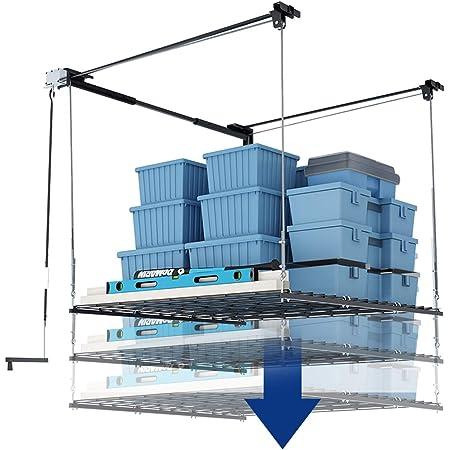 FLEXIMOUNTS Overhead Garage Storage Rack Lift Ceiling Storage Lift System Heavy Duty 4 x 4 FT Black