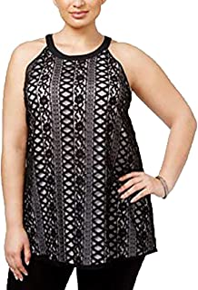 Alfani Plus Size Contrast Lace Top