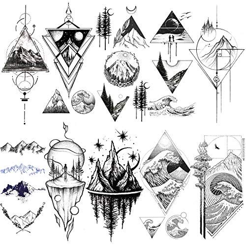 VANTATY 10 Sheets Sketch Line Art Geometric Triangle Mountain Forest Temporary Tattoos For Kids Women Men Body Forearm Tattoos Stickers Girls Boys Children Fake Tatoos Minimalist Sea Wave