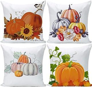 EZVING Pumpkin Throw Pillow Cover Halloween Cushion Case 18 x 18 Inch Cotton Linen Autumn..