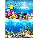 Amakunft - Adhesivo para Fondo de Acuario, diseño de Paisaje Marino y Arrecife de Coral