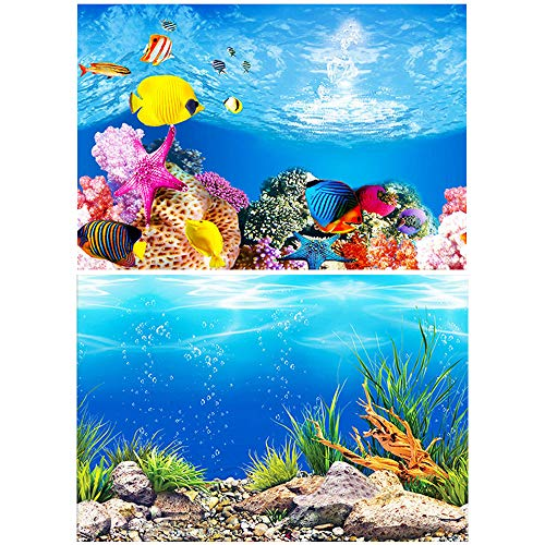 40x102cm 水族館ポスター 水族館の背景 ポスター3D効果 バックスクリーン 水槽の飾り 両面壁紙 (海底の世界 魚 サンゴ)