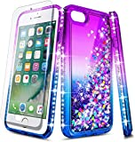 E-Began Case for iPhone 5/5s, iPhone SE (2016 Edition) with Tempered Glass Screen Protector, Glitter Flowing Liquid Floating Quicksand w/Bling Diamond, Shockproof Durable Girls Cute Case (Purple/Blue)