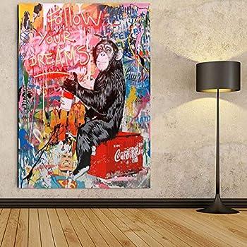Faicai Art Banksy Graffiti Street Art Paintings Canvas Wall Art Drawing Chimpanzee Fluorescent'Follow Your Dreams' Superman Background Pop Art Prints Posters Wall Decor Wooden Framed 28 x40