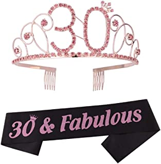 30th Birthday Tiara and Sash 30th Birthday Crown and Sash Tiara and Sash For 30th Birthday Party Supplies(Pink Tiara+Black Sash)