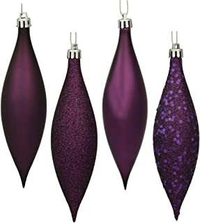 Vickerman N500126 Finial 4 Finish (Shiny, Matte, Glitter and Sequin) with Asst Shatterproof 8/Clear Acetate Box, 5.5