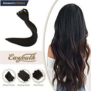 Easyouth 22inch Real Remy Hair Clip in Extensions Color 1B Off Black 120g 7Pcs Per Set Brazilian Straight Hair Double Weft Clip on Hair Extensions Invisible Clip on Hair Extensions
