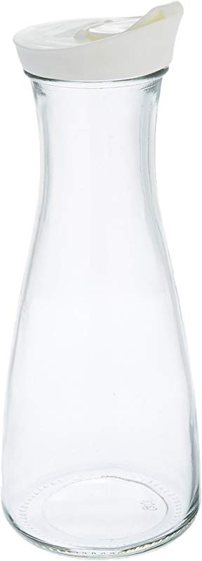 Grant Howard Beverage Glass Carafe And Decanter With White Screw Top 1 L Clear