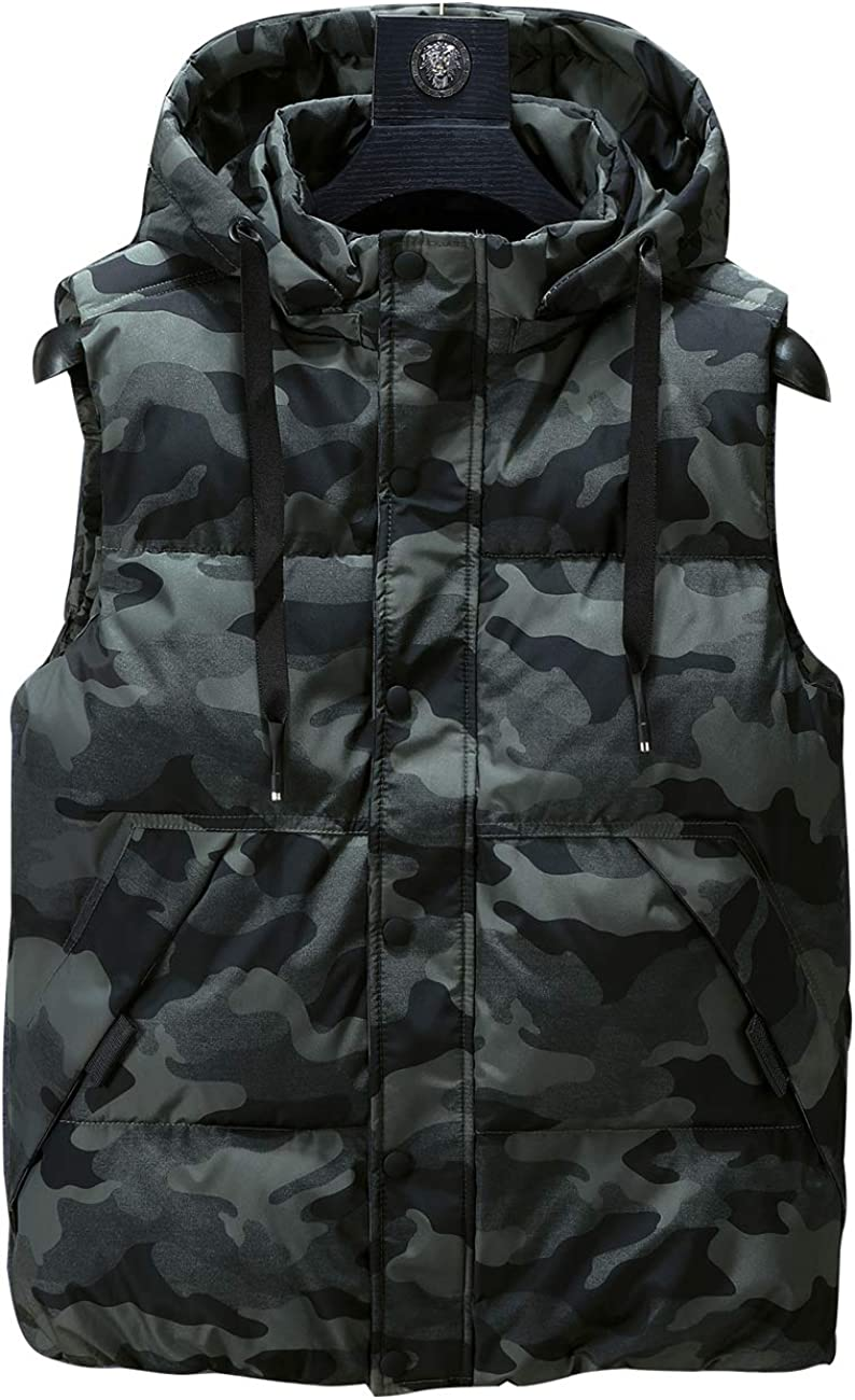 Zoulee Mens Winter Puffer Vest Warm Sleeveless Winter Jacket Gilet with Removable Hood