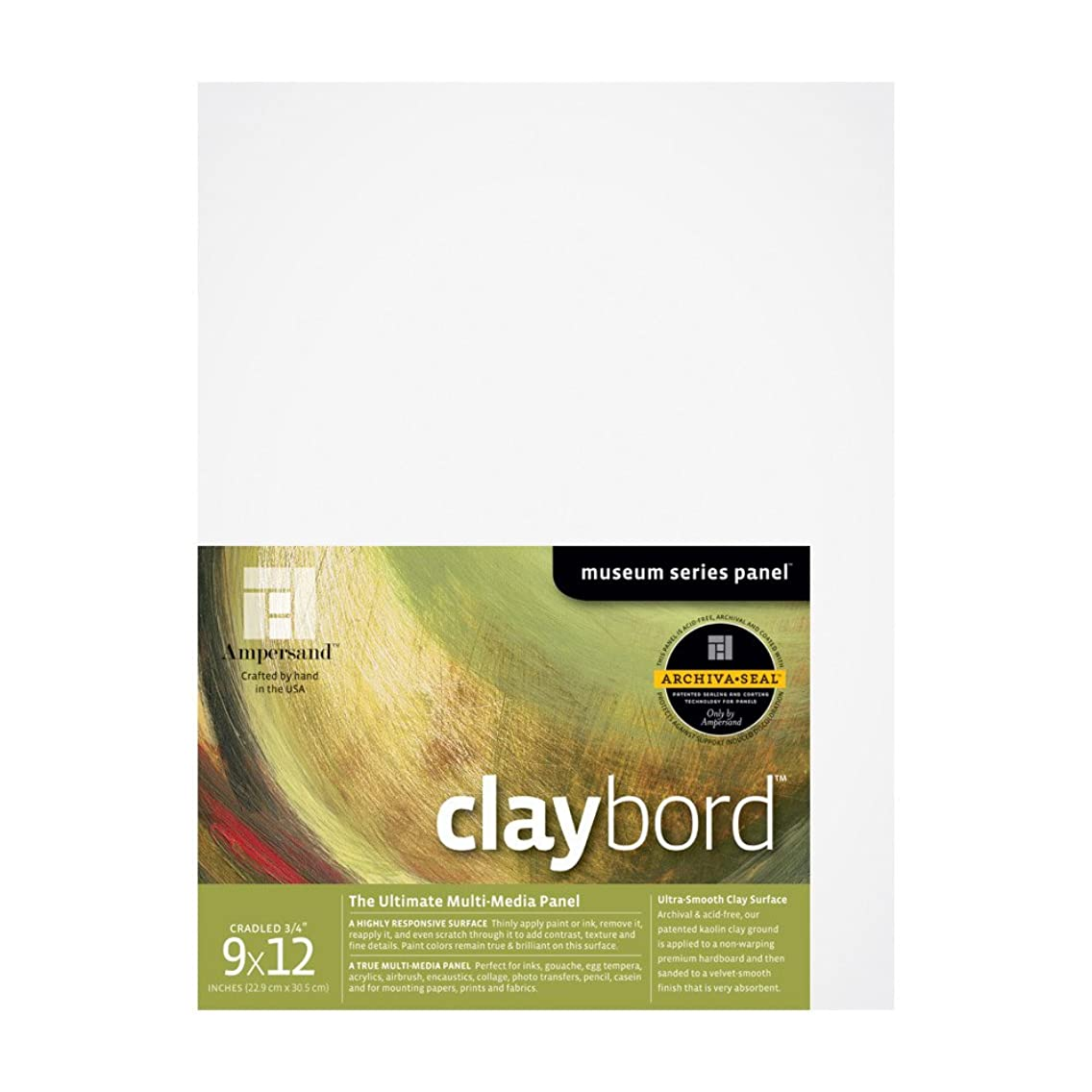 Ampersand Museum Series Claybord Panels for Paint and Ink, 3/4 Inch Depth Cradled, 9X12 Inch (CBSC09)