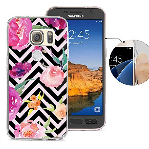 Viewll Compatible with Samsung S7 Active Case, Galaxy S7 Active Case, Viwell Design Pattern Case, High Impact Protective Case for Samsung Galaxy S7 Active Case Black Chevron Pink Flower