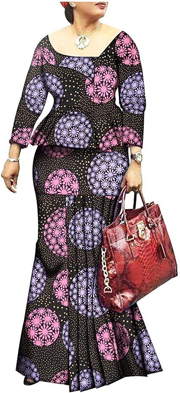 African Style 1Piece Long Maxi Dress for Lady Full Sleeve Pure Cotton Ankara Print Dashiki