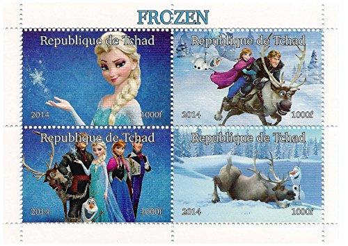 Disney Movie Frozen feuille de menthe de figurines à collectionner de 4 timbres avec Elsa, Olaf, Anna et Kristoff / 2014 / Tchad