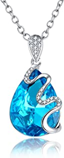 Topaz Blue Crystal Necklace Women 18 Inches Pear Drop Shape Pendant CZ Fashion Jewelry.