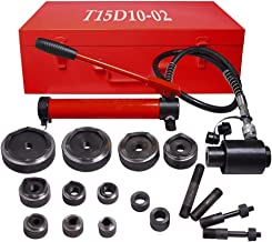 WeChef 15 Ton 1/2 to 4 inch Hydraulic Punch Driver Kit 10 Dies Knockout Hole Complete 11 14 Gauge Tool Case Red