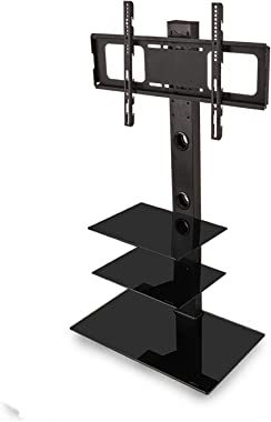 Swivel Bracket TV Stand with Mount Corner Floor 3-Tier Tempered Glass Shelves Entertainment Center Stand for 32 to 65-inch Pl