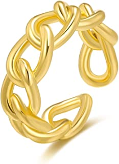ZEINZE 18K Gold Plated Chain Link Croissant Twisted Irregular Ring Stacking Band Open Statement Rings Chunky Golden Ring J...