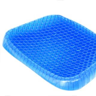 Qualimate Cushion for Chair Comfort Blue Honeycomb Design Gel Pad Provides Excellent Support for Lower Back, Spine, Hips Promotes Venting & Good Sitting Posture for Office Chair Car Sitter Wheelchair