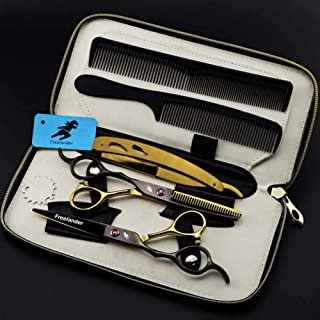 Professional Hair Cutting Scissors Set Left Hand Hairdressing Haircut Kit, Hair Cutting Scissors, Thinning Shears,A,6.0 In...