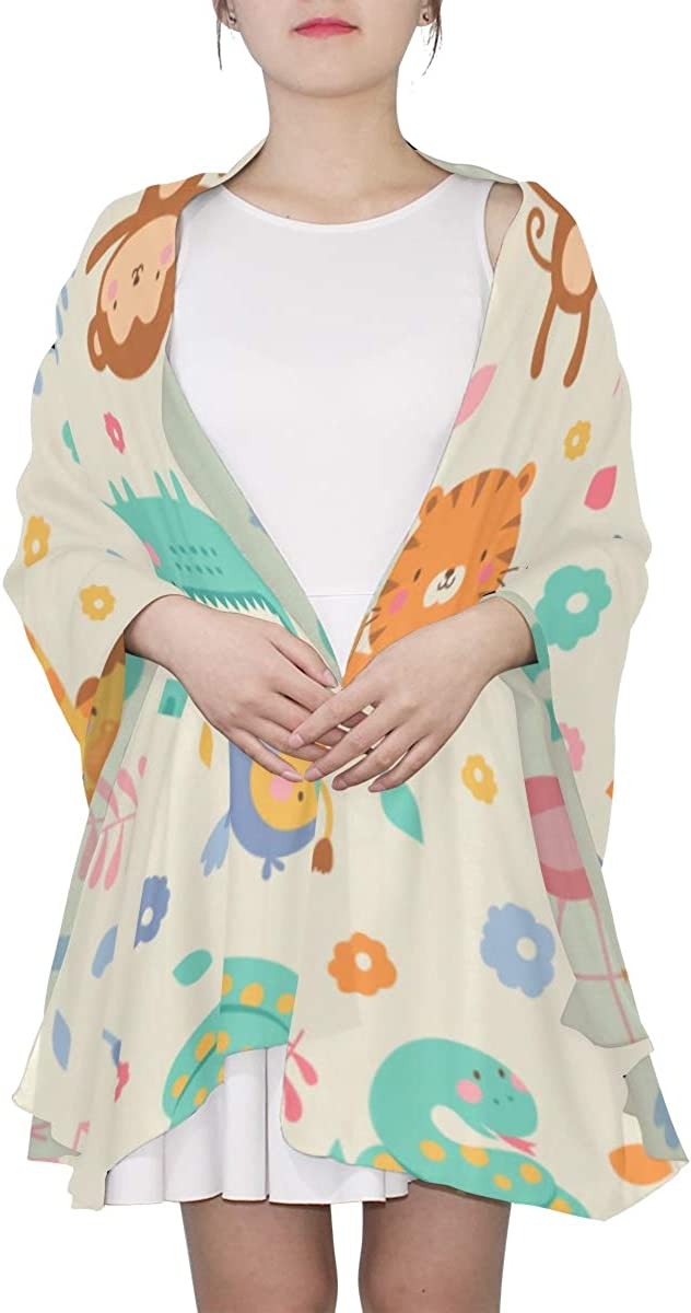 Cute Hippopotamus With Animals Unique Fashion Scarf For Women Lightweight Fashion Fall Winter Print Scarves Shawl Wraps Gifts For Early Spring