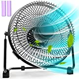 Battery Operated Fan, 9 Inch Camping Rechargeable Battery Fans, Battery Powered USB Fan with 5200mAh Rechargeable Battery Desk Fan, Quiet Personal Cooling Fan with Metal Frame for Camping