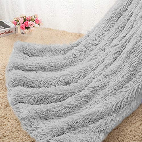 Homore Soft Fluffy Blanket Fuzzy Sherpa Plush Cozy Faux Fur Throw Blankets for Bed Couch Sofa Chair Decorative, 50''x60'' Light Gray