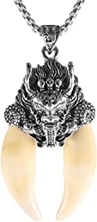 AsAlways Mens Metal Wolf Lion Head Stainless Steel Pendant Necklace Indiana Teeth Tribe Jewelry
