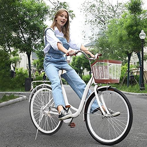 【US Stock】 ComCune Womens Beach Cruiser Bike with Basket - 26-Inch Womens Comfort Bikes Classic Retro Bicycle Beach Cruiser Bike Single Speed Bicycle Comfortable Commuter Bicycle (E)