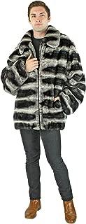 Man's Grey Chinchilla Dyed Rex Rabbit Fur Zipper Jacket