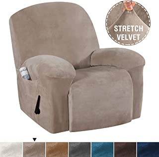H.VERSAILTEX Real Velvet Sofa Cover for Recliner Sofa Slipcovers Stylish Modern Velvet Plush Furniture Cover/Protector, Stay in Place Anti-Slip Foams Couch Shield Plush Cover (Recliner - Taupe)