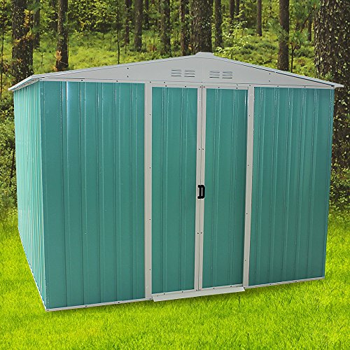 Outdoor Metal Garden Storage Shed Box Waterproof Flat Roof Building Foundation Sheds with 2 Sliding Doors Outdoor Furniture Green (244cm × 305cm × 191cm)