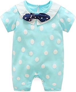 طفل الفتيان فتاة bowknot من قطعة واحدة الوليد الأطفال قصيرة الأكمام رومبير الملابس نزهة قطعة واحدة (Color : Blue, Size : 8...