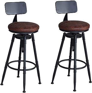 FinukGo Tabourets de Bar, Tabouret de Ba en Cuir Marron avec Dossier, Réglable en Hauteur, Pivotant, Chaise de Haut Pied de S