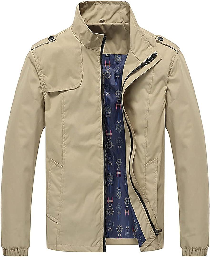 Men's Jackets Spring Autumn Max 65% OFF Slim Fit Jacket Mens Solid San Jose Mall Ov Bomber