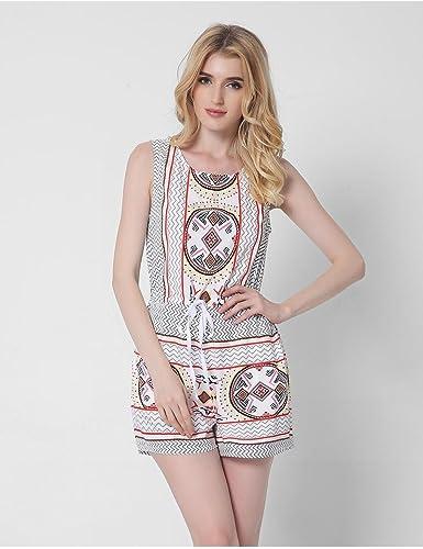 Robe ZLL Vintage imprimé été Plage Gilet Combinaison courtes Hot Pants Combinaison Femmes, XL
