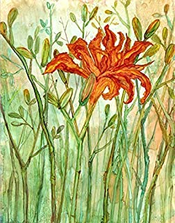 Orange Daylily 5 x 7 Daylilies Flower Art Print, Floral Artwork, Christmas Present for Her, Botanical Painting