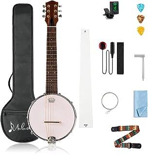 Mulucky 6 String Banjo Mini - Closed Solid Back Sapele Banjo Guitar Beginner Kit With Gig Bag Tuner Picks Strings Strap - ...