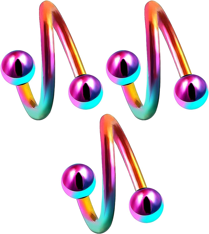 14g 14 gauge 3/8 Rainbow surgical steel eyebrow lip bar ear tragus Twist earring ring spiral Barbell ball AQTI Piercing 3pcs