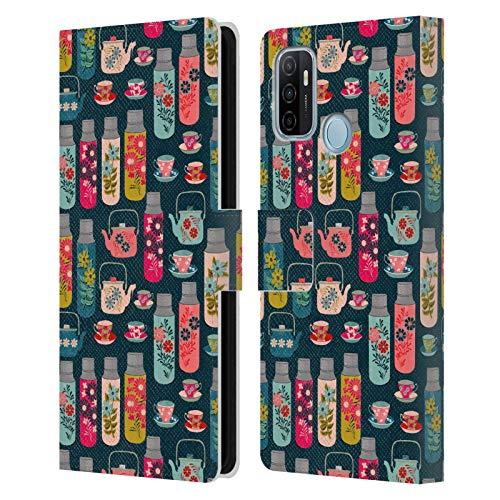 Oficial Andrea Lauren Design Frascos y Tazas de Taza Patrón de Carcasa de Cuero Tipo Libro Compatible con OPPO A53 / A53s