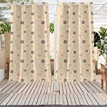 Eiffel IKEA Outdoor Curtains Lovely Soft Eiffel Tower Pattern with Cute Hearts Flowers Butterflies and Dots Darkening Thermal Insulated Blackout W55 x L72 inch Beige Multicolor