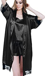 fab6be34ccfc 2019! New! Hot!Fashion Week! Fashion Women Sexy Black Silk Satin Kimono
