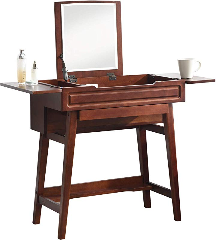Vlush Vanity Makeup Table With Flip Top Mirror Solid Rubber Wood Dressing Table Writing Desk 6 Organizers Makeup Accessories 1 Drawer Coffee