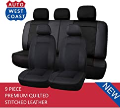 West Coast Auto Premium Quilted Stitched Leather - Universal Car Seat Cover, Airbag Compatible, (Fits Most Car, Truck, Suv or Van) (Black)
