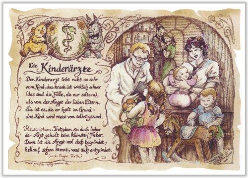 Geschenk Kinderarzt Kinderärzte Arzt Doktor Zeichnung Color 20 x 15 cm